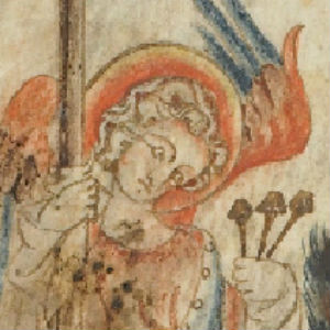 Holkham Bible - angel holding the Arma Christi