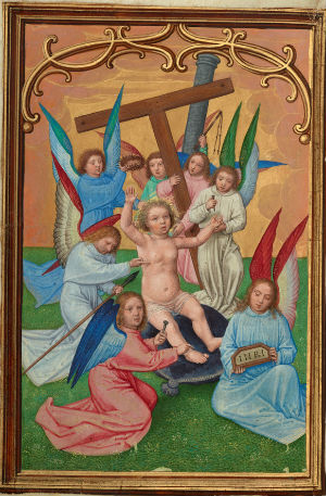 Simon Bening - The Christ Child Surrounded by the Instruments of the Passion